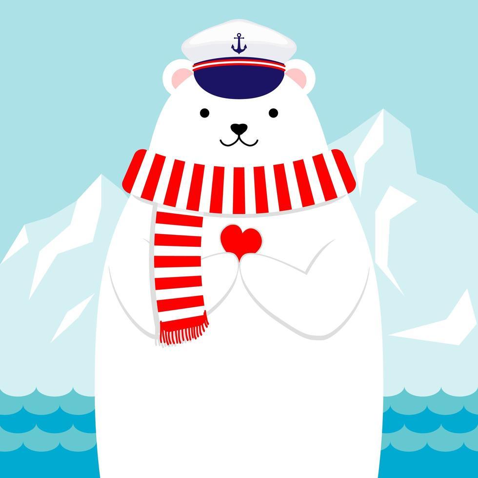 Diseño plano náutico oso polar sosteniendo un corazón vector