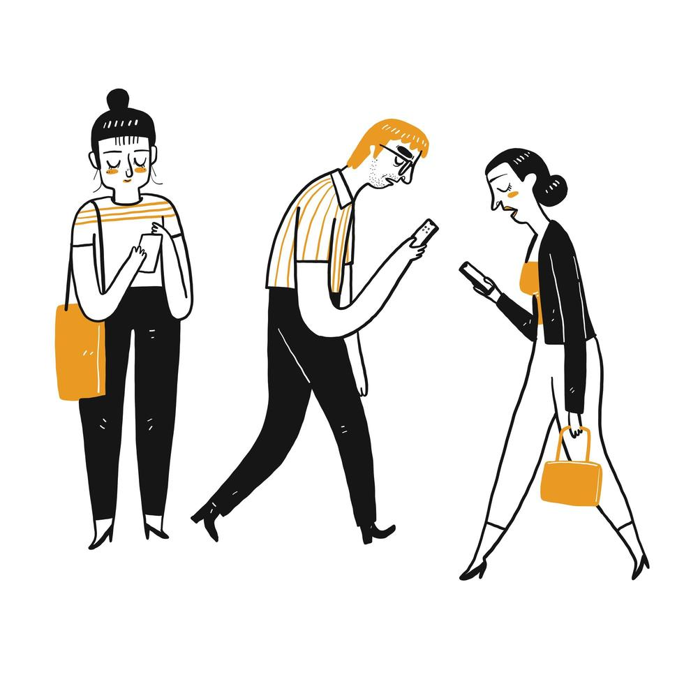Character set of people using a smartphone. vector