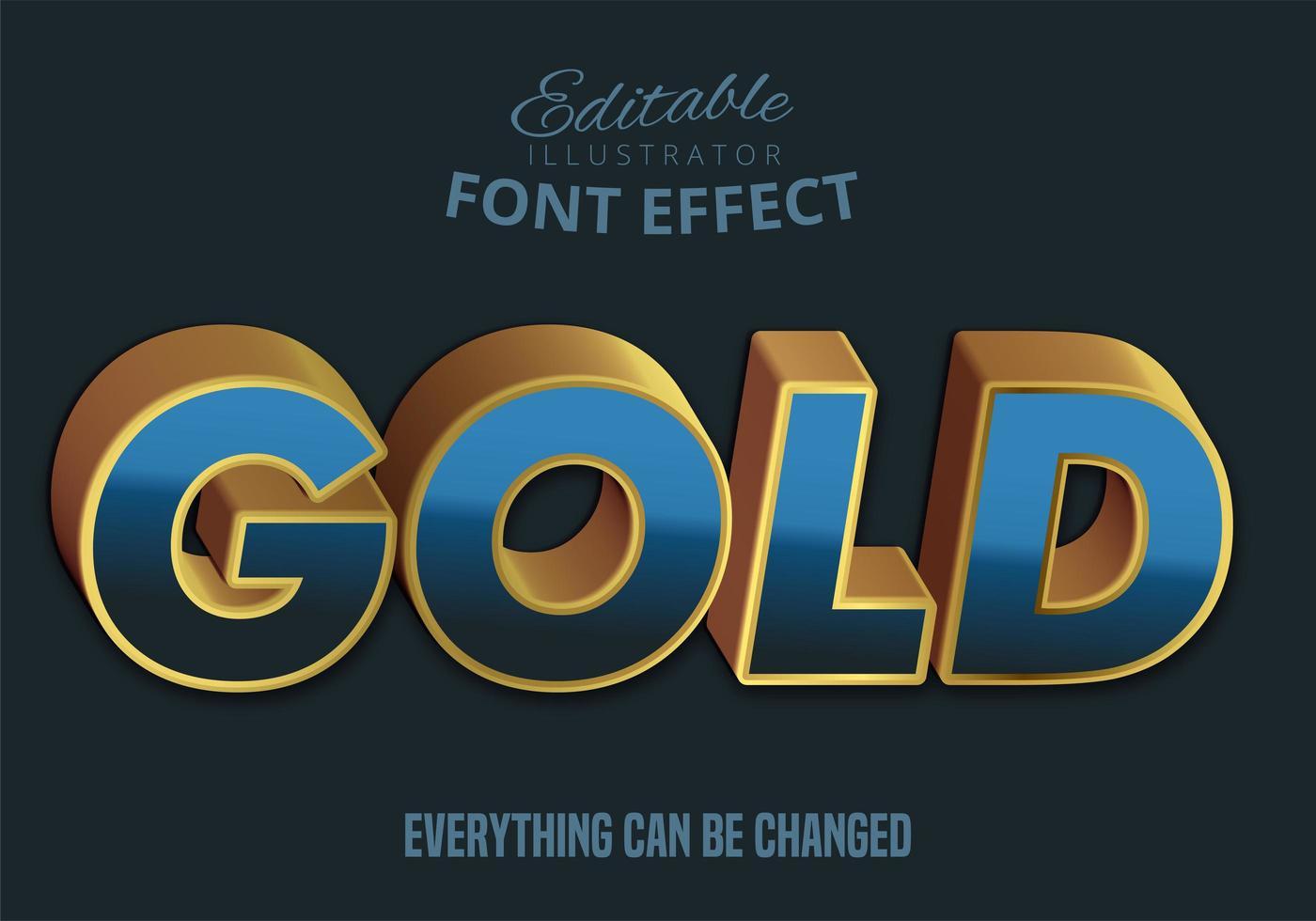Gold text, editable text style vector