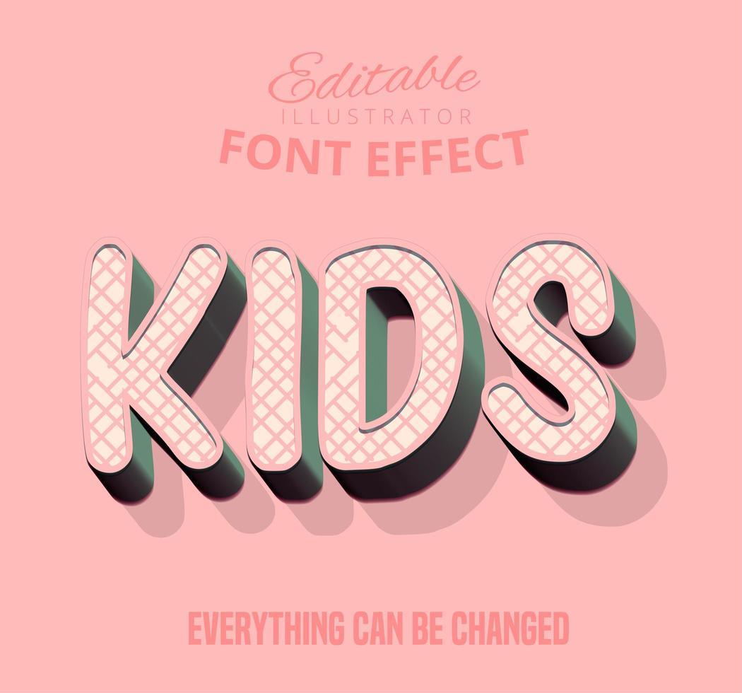 Texto de patrón de rayas cruzadas para niños, estilo de texto editable vector