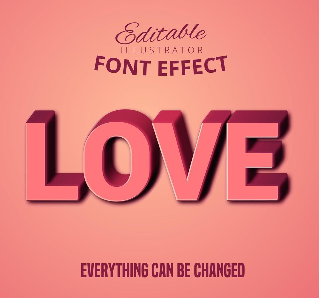 Adoro il testo 3D rosa, lo stile di testo modificabile vettore