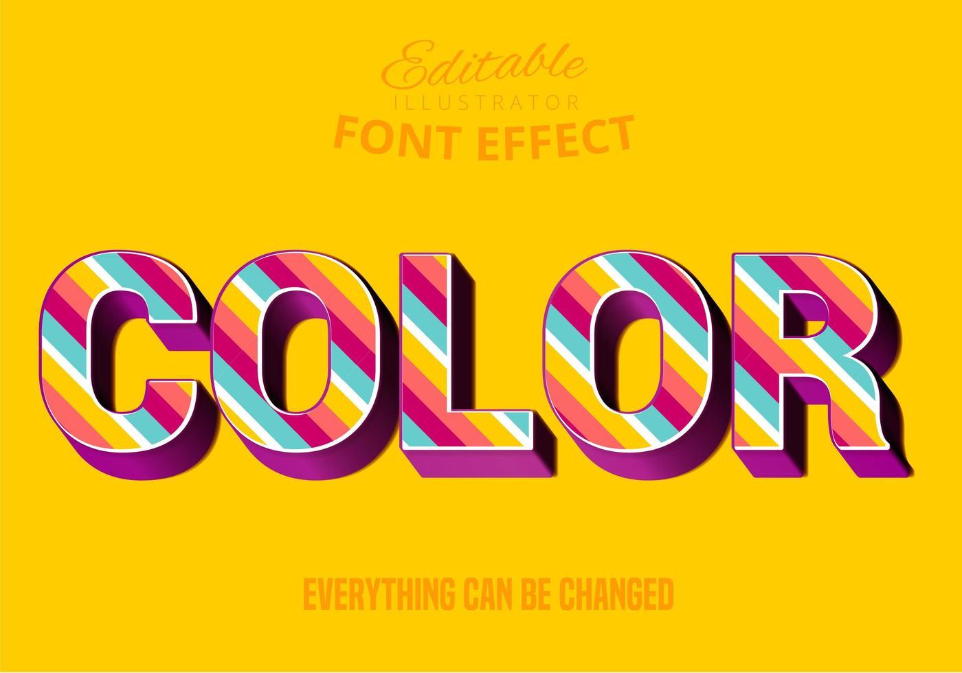 Colore a strisce di testo, stile di testo modificabile vettore