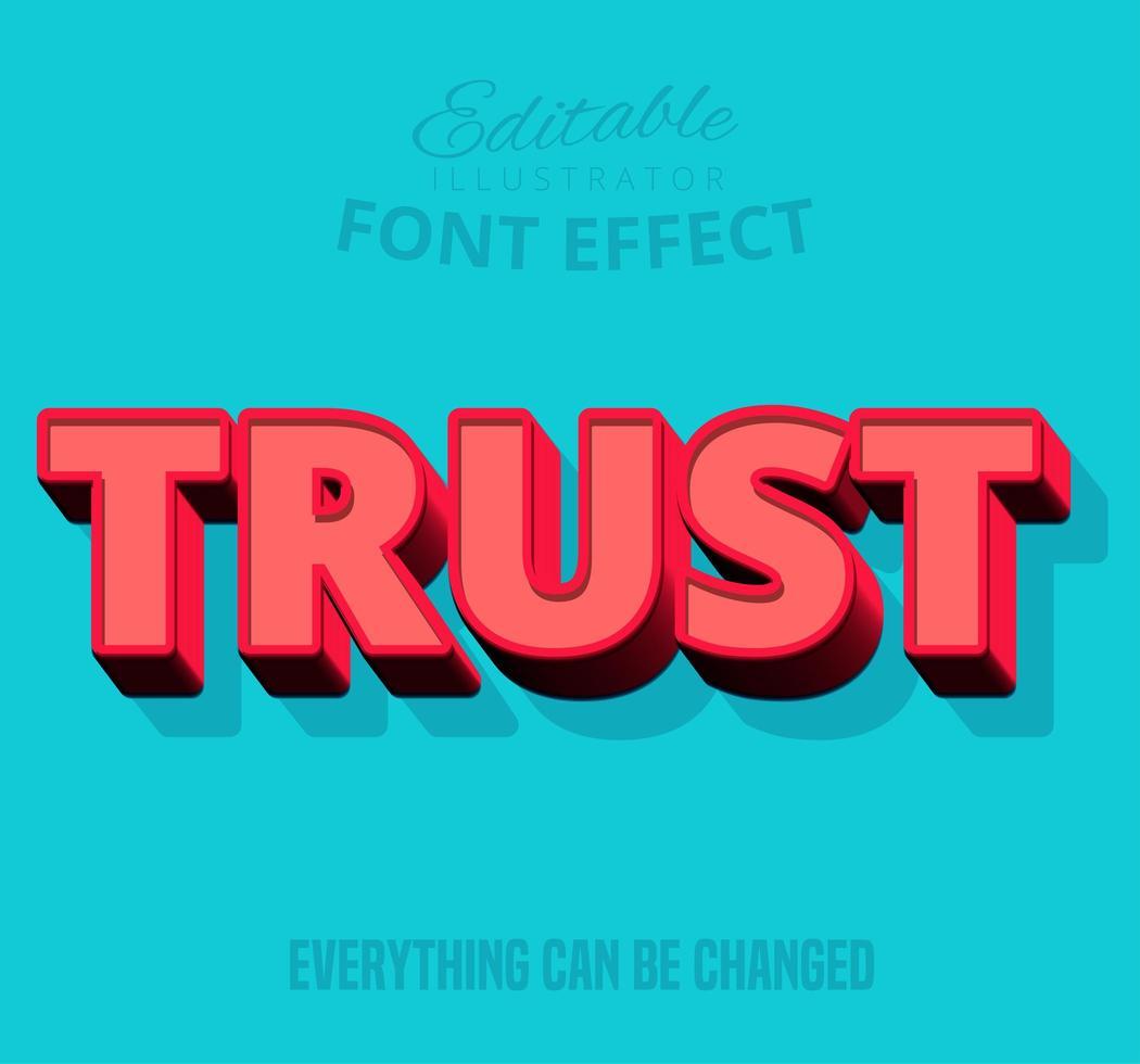 Trust shadowed text, editable text style vector