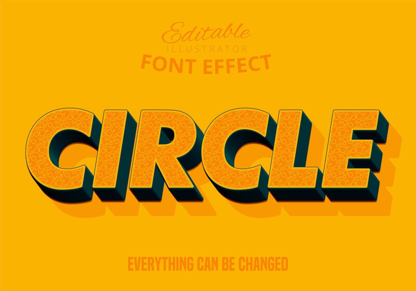 Texto de patrón circular, estilo de texto editable vector