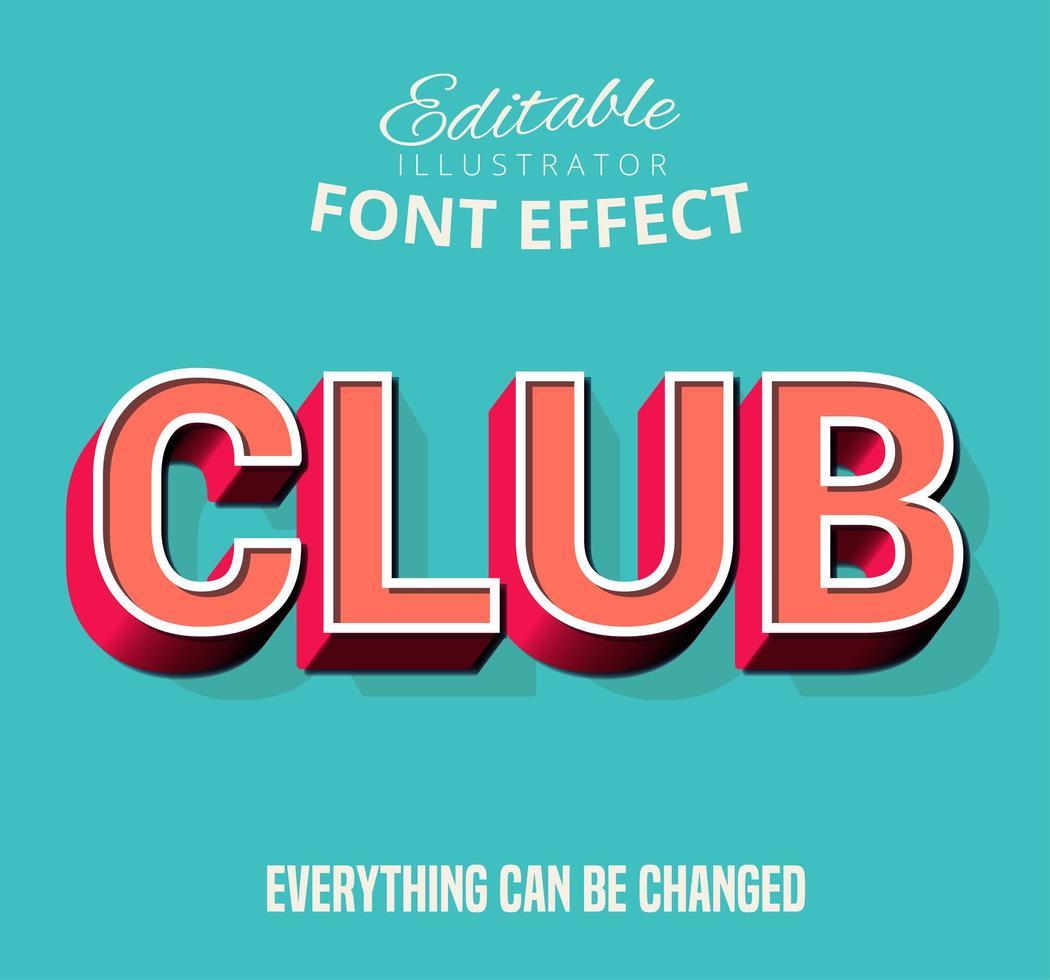 Esquema del club Texto insertado, estilo de texto editable vector