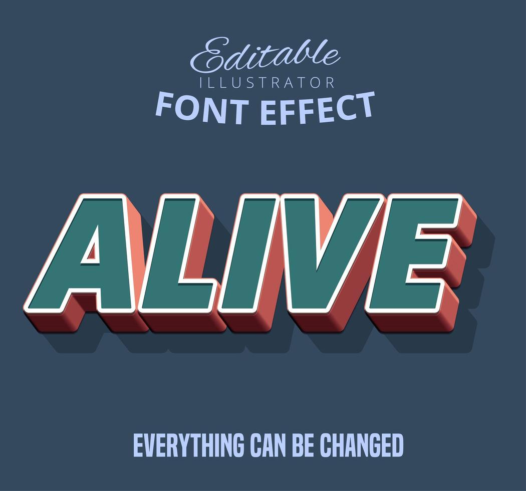 Alive Outline Shadowed text, editable text style vector