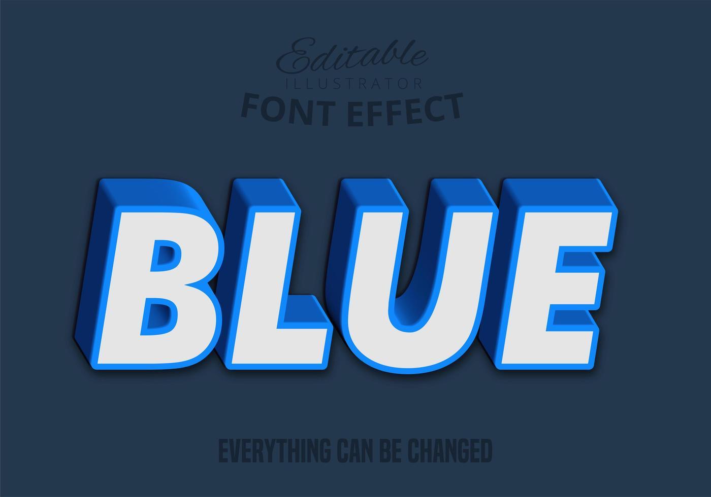 Texto 3D azul, estilo de texto editable vector