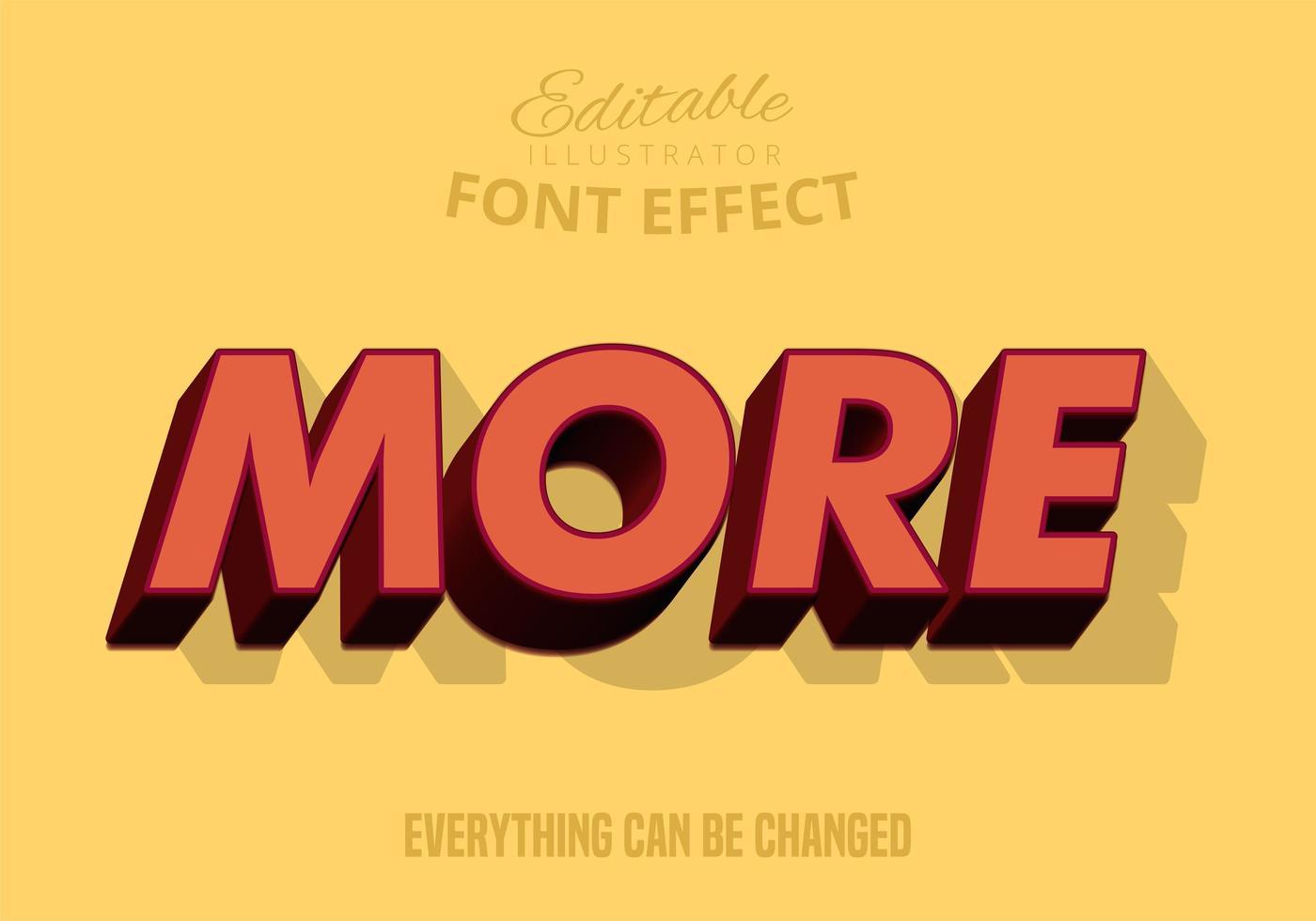 Más #d Texto sombreado, estilo de texto editable vector