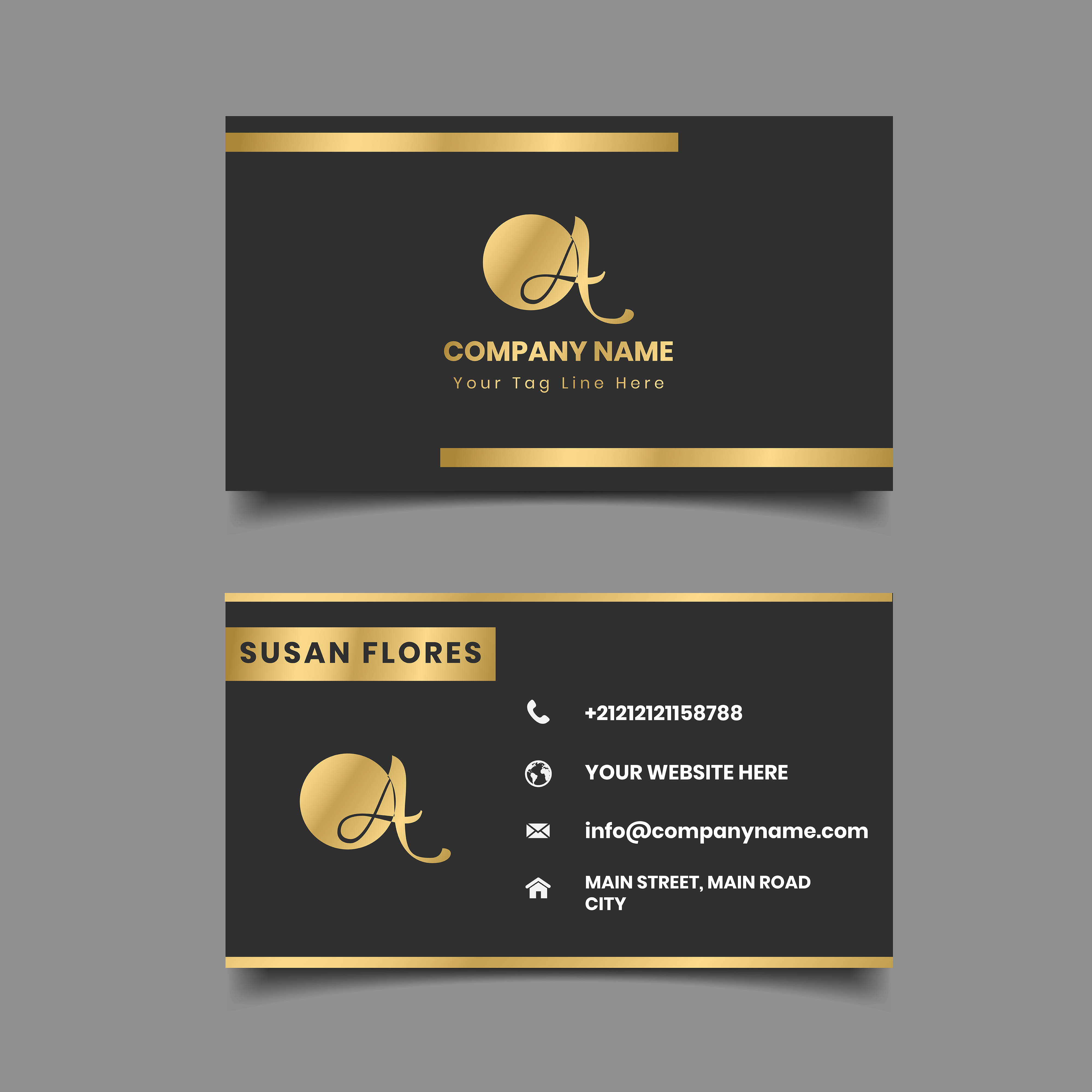 Black And Gold Metallic Border Business Card