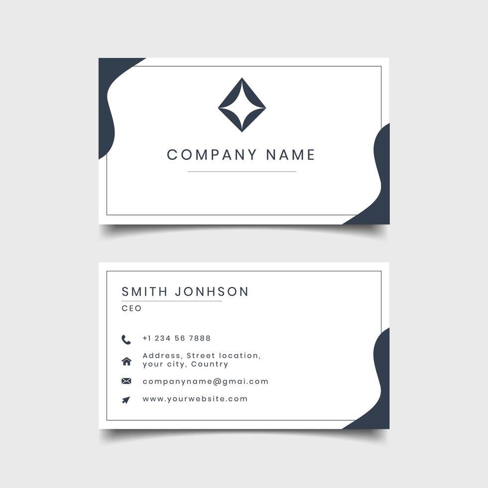 Wave Design Blue and White business card template design vector