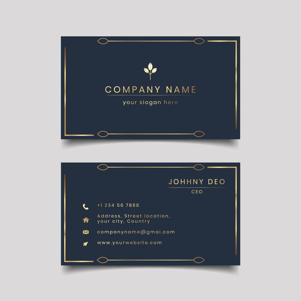 Diseño de tarjeta de visita de ornamento dorado moderno oscuro vector
