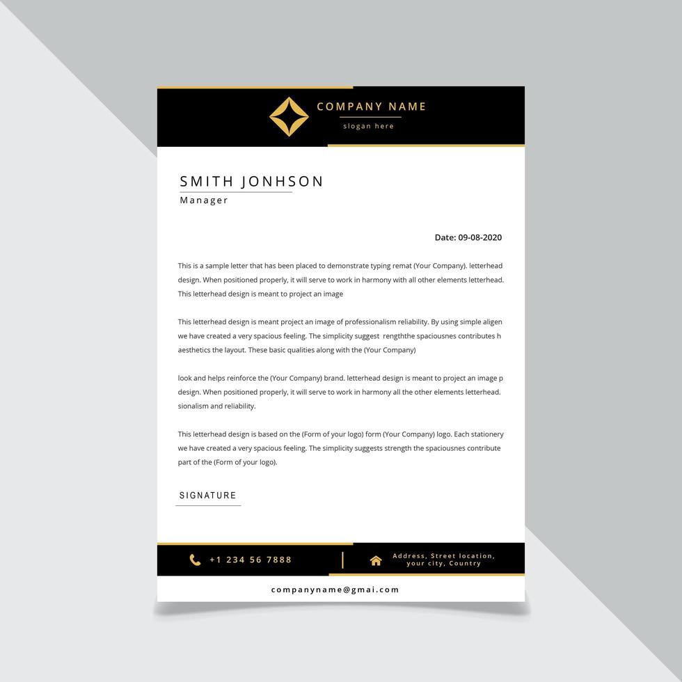 Black and Gold Letter head template vector