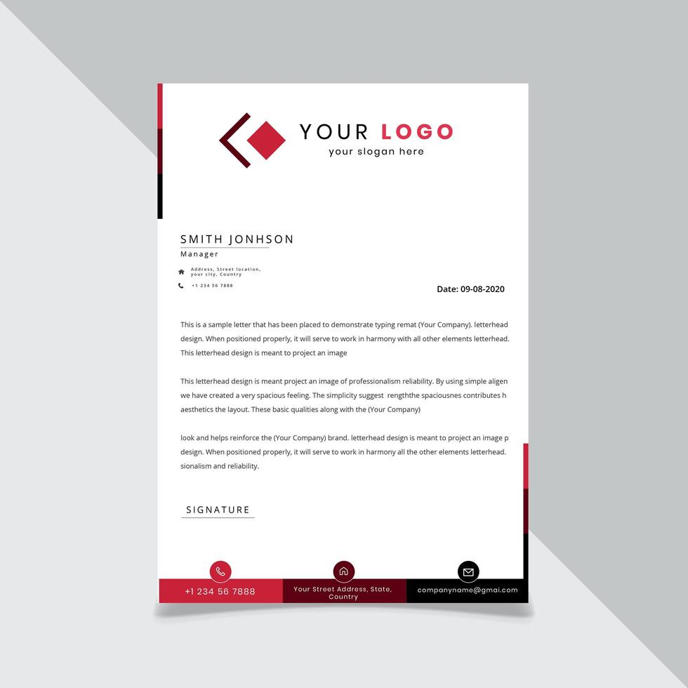 Red and Black Sectioned Letterhead template vector