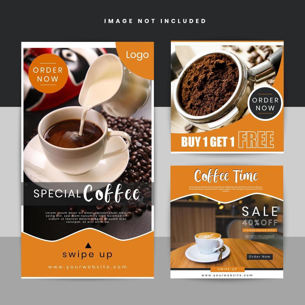 Plantilla de historia de publicación de Coffee Offer en redes sociales vector