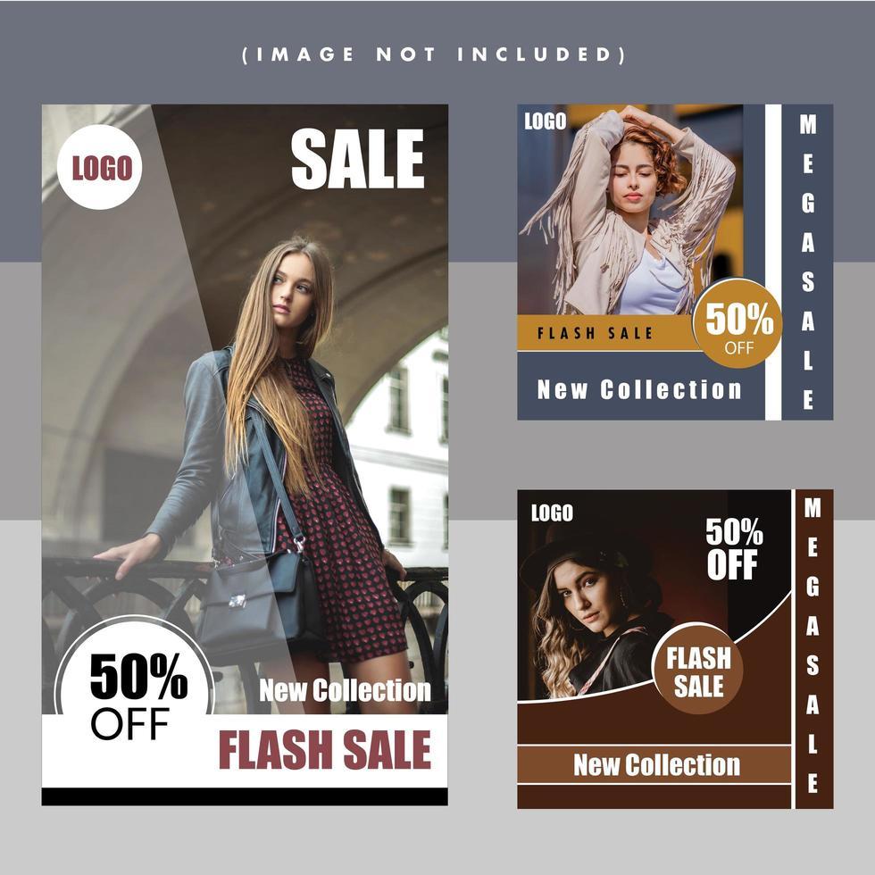 Moda flash venta moderno diseño de publicación en redes sociales vector
