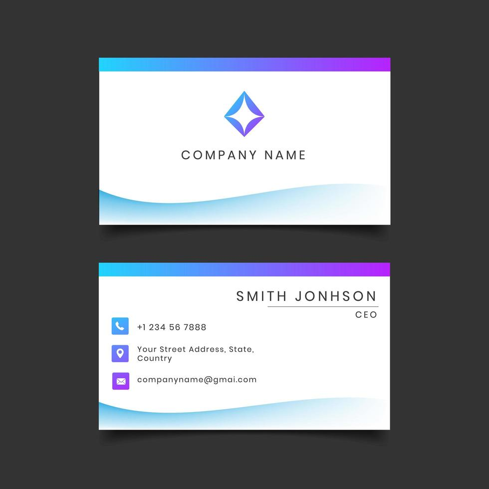 Modèle de carte de visite dégradé bleu et violet vecteur