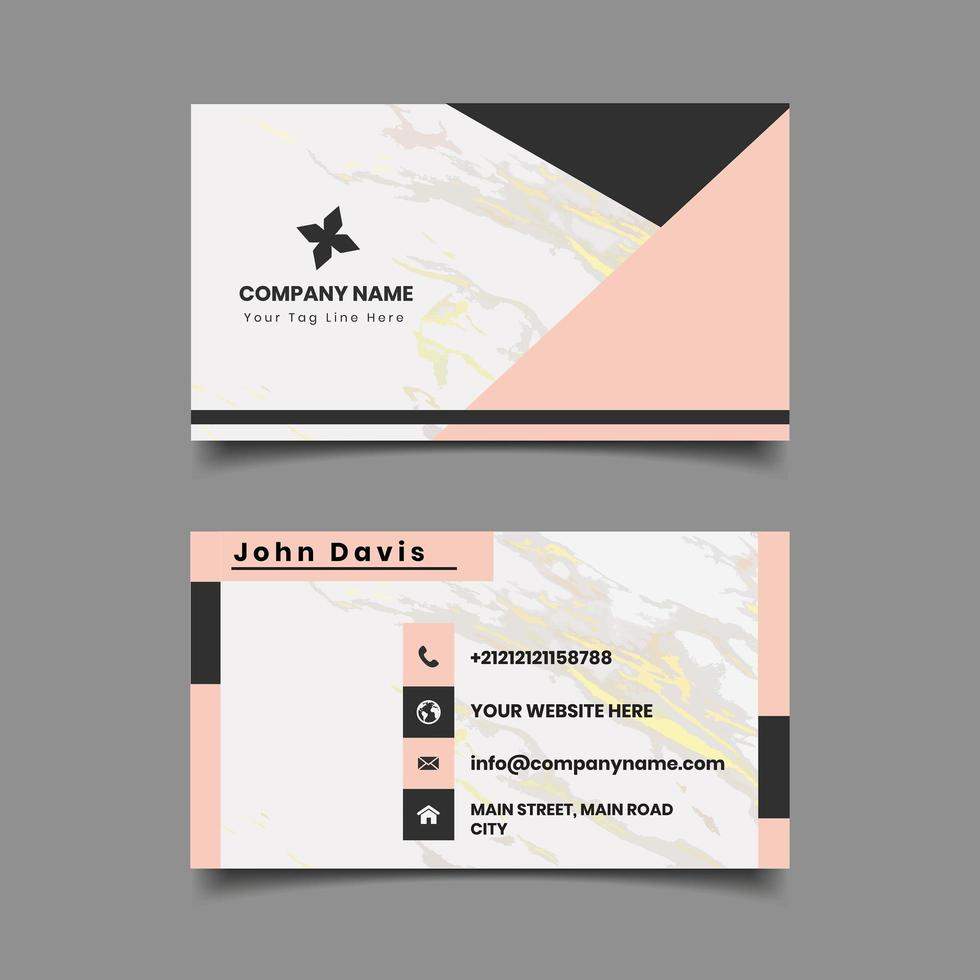 Marble Pattern Geometric Business Card Template vector