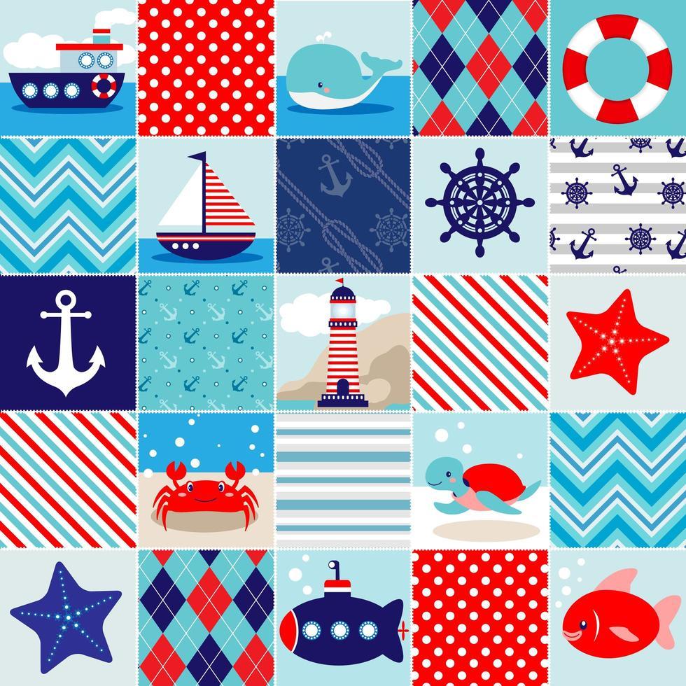 Nautische thema achtergrond patchwork patronen vector