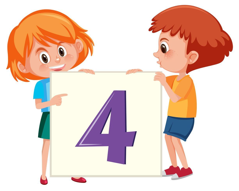 Niños con pancarta número cuatro vector