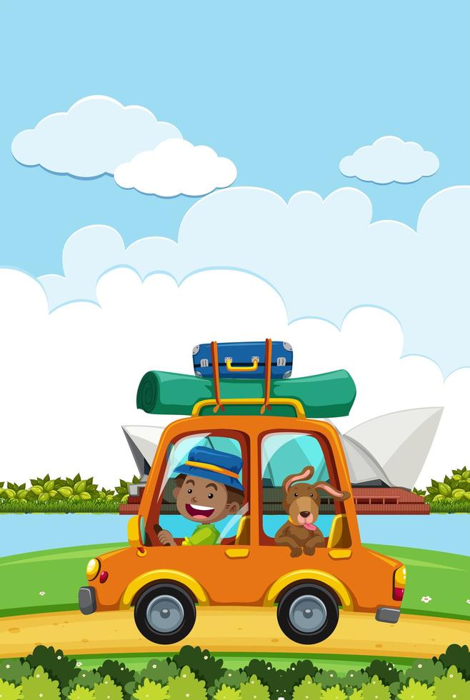 Man going on a roadtrip in front of Sydney opera house vector