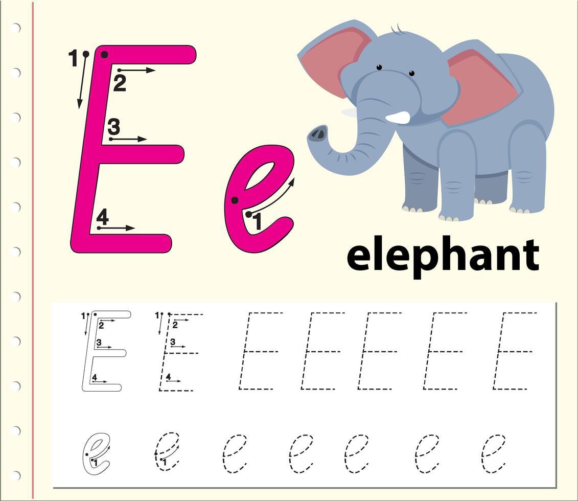 Arbeitsblätter für Buchstaben-E-Tracing-Alphabete vektor