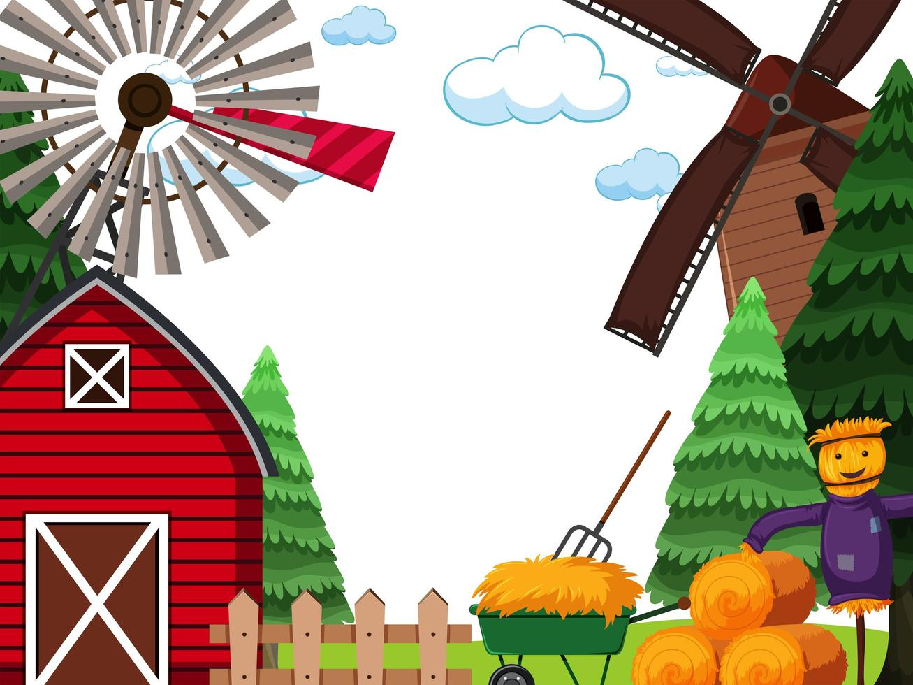 Farm land scape scene vector