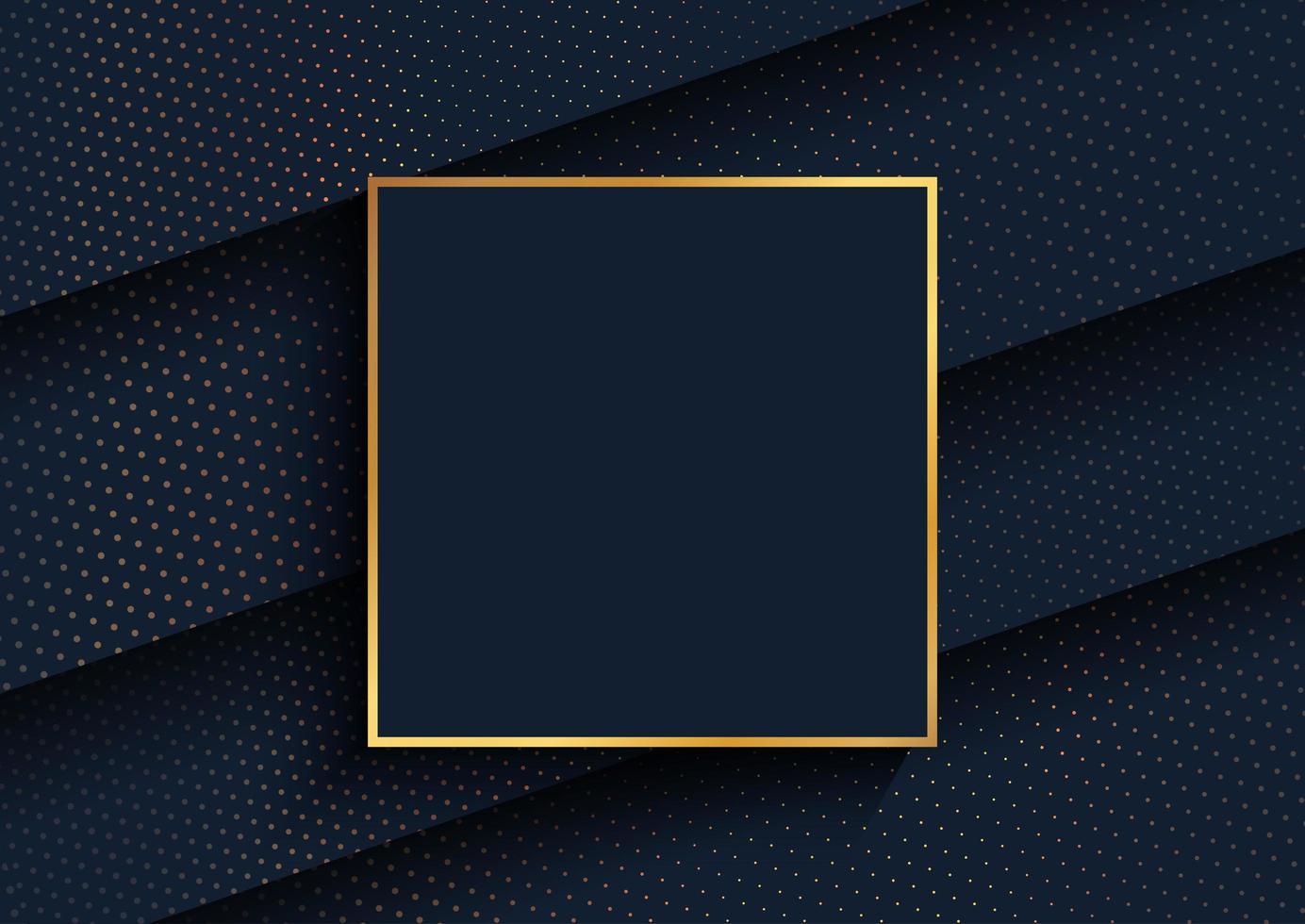 Elegante fondo con diseño de puntos de medios tonos dorados y marco dorado vector