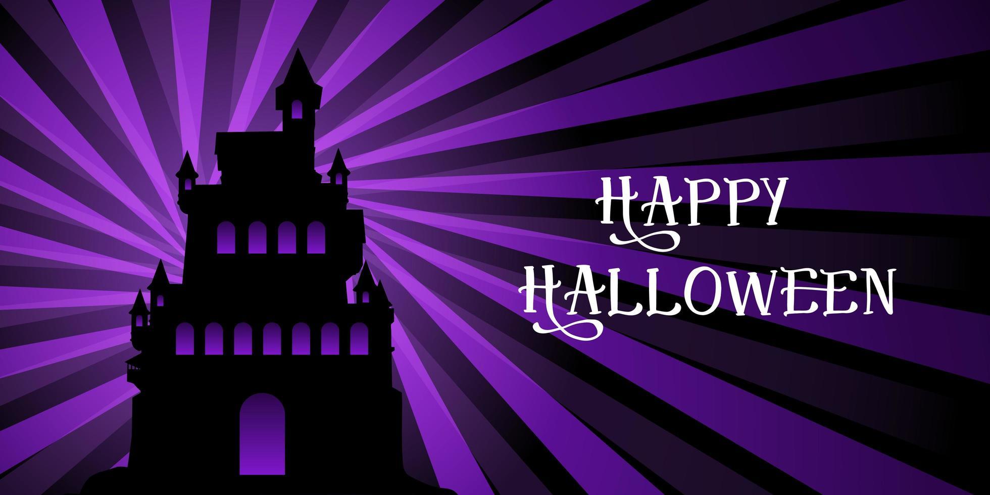 Halloween banner with castle on starburst design vector