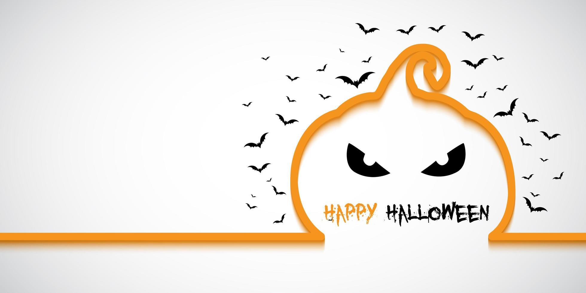 Banner de Halloween simples com contorno de abóbora vetor