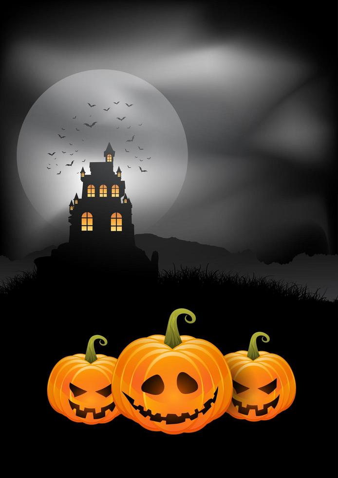 Halloween background pumpkins and spooky castle vector