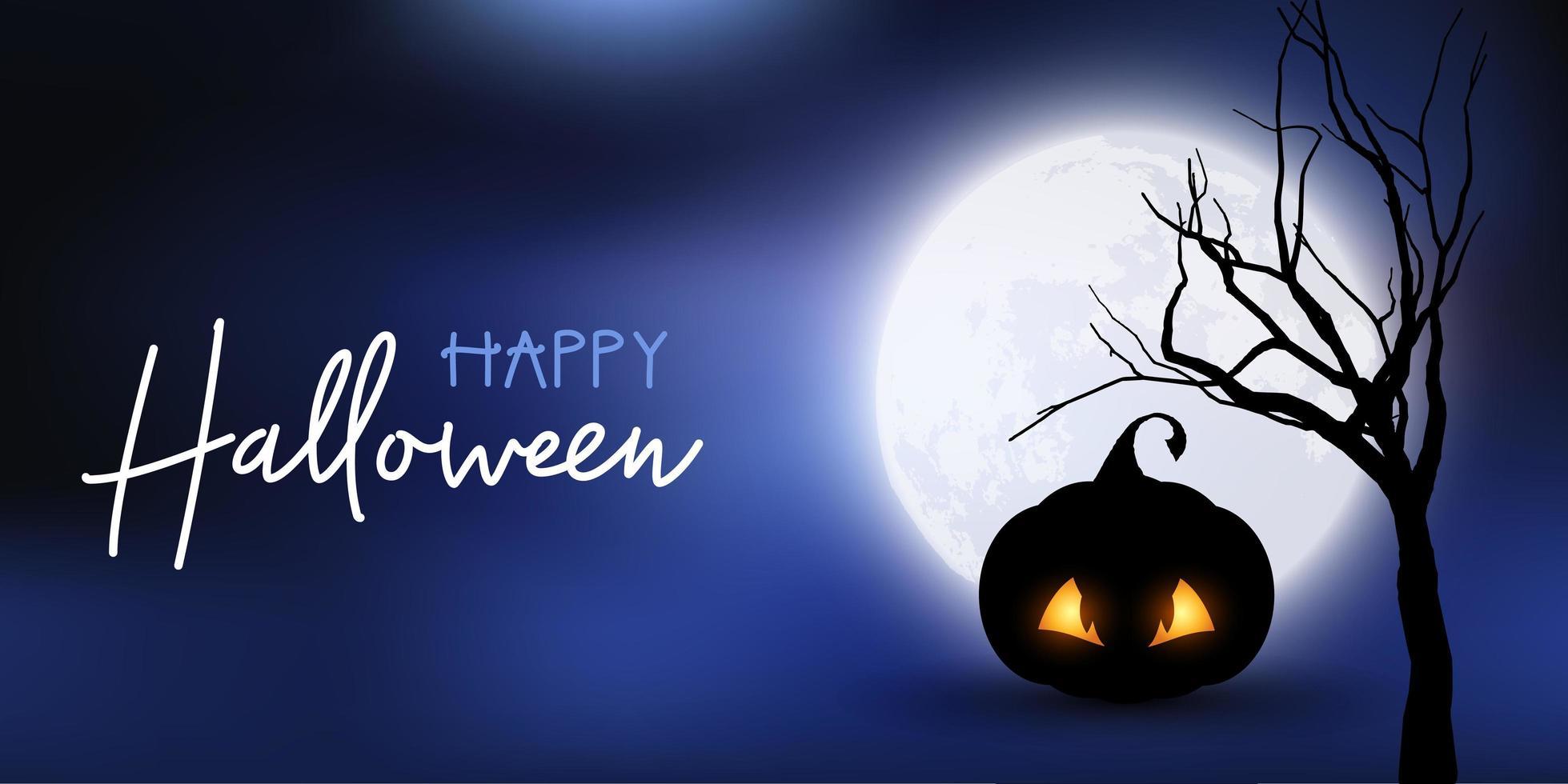Banner de Halloween con calabaza espeluznante contra el cielo iluminado por la luna vector