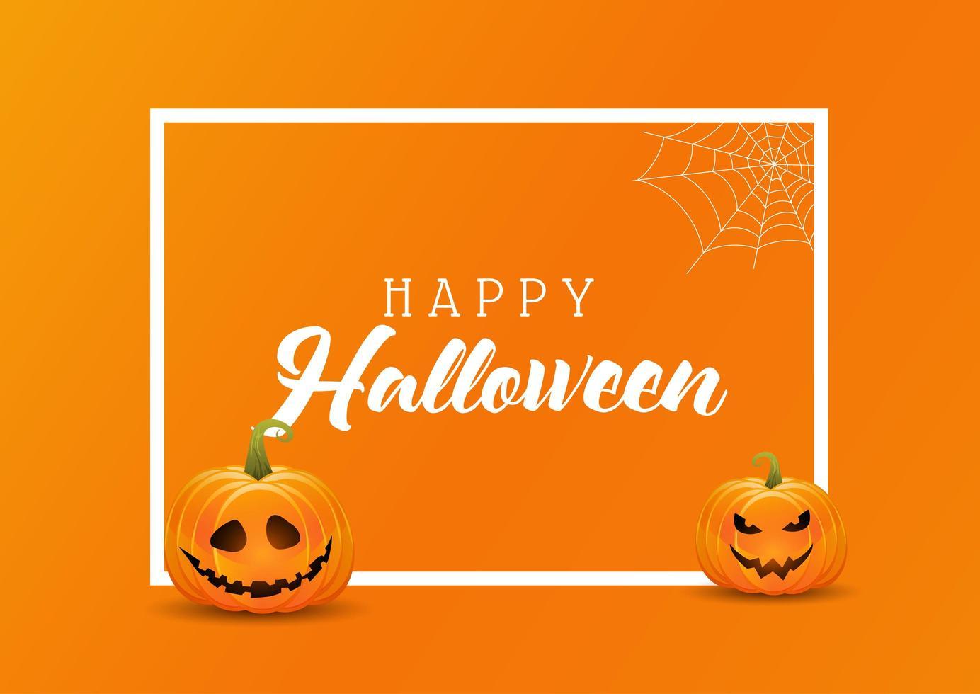 Sfondo di Halloween con zucche su una cornice bianca vettore