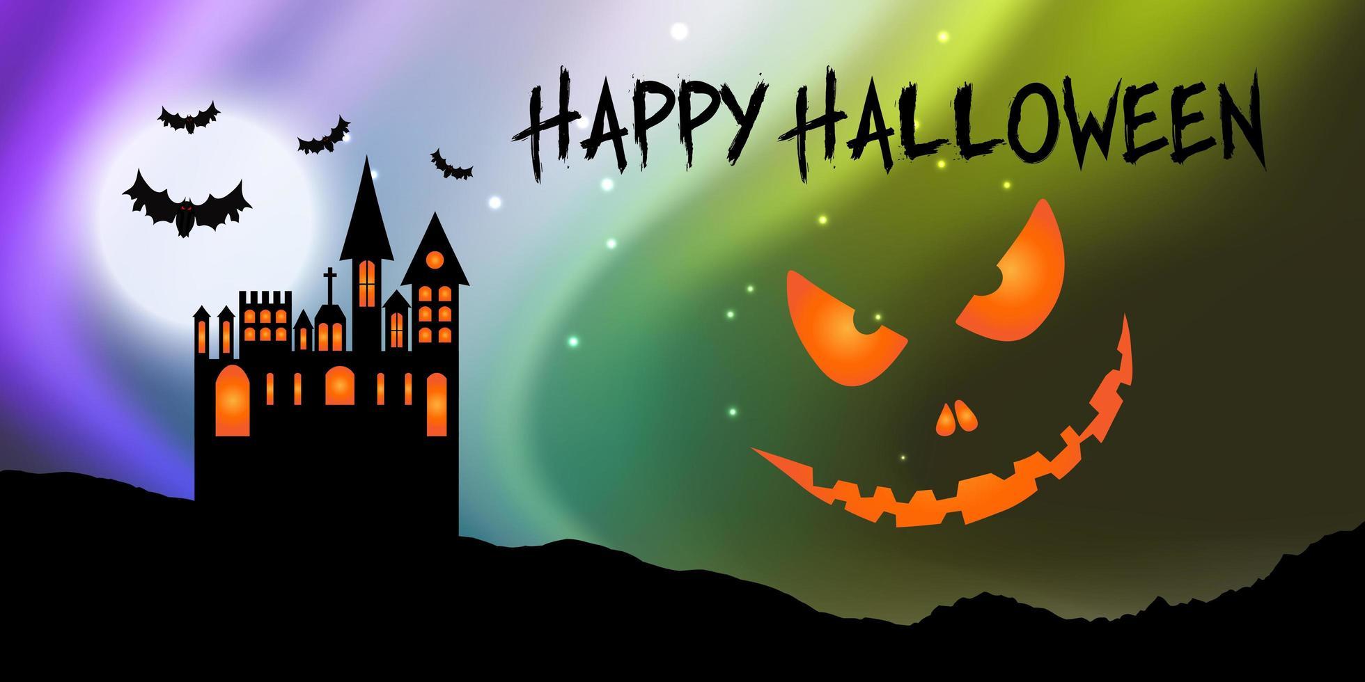 Bannière Halloween avec château et visage de citrouille vecteur