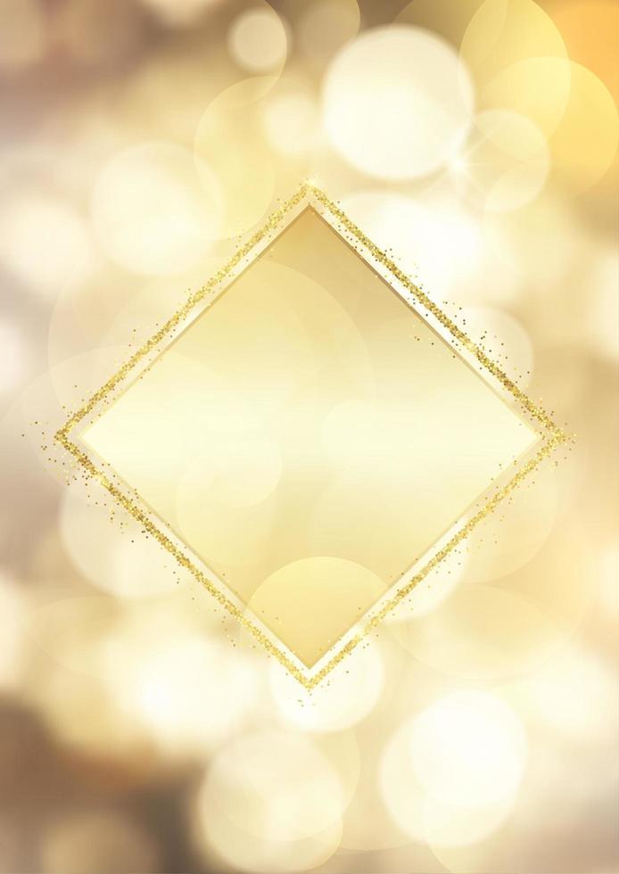 Cadre doré pailleté sur un fond de lumières bokeh vecteur