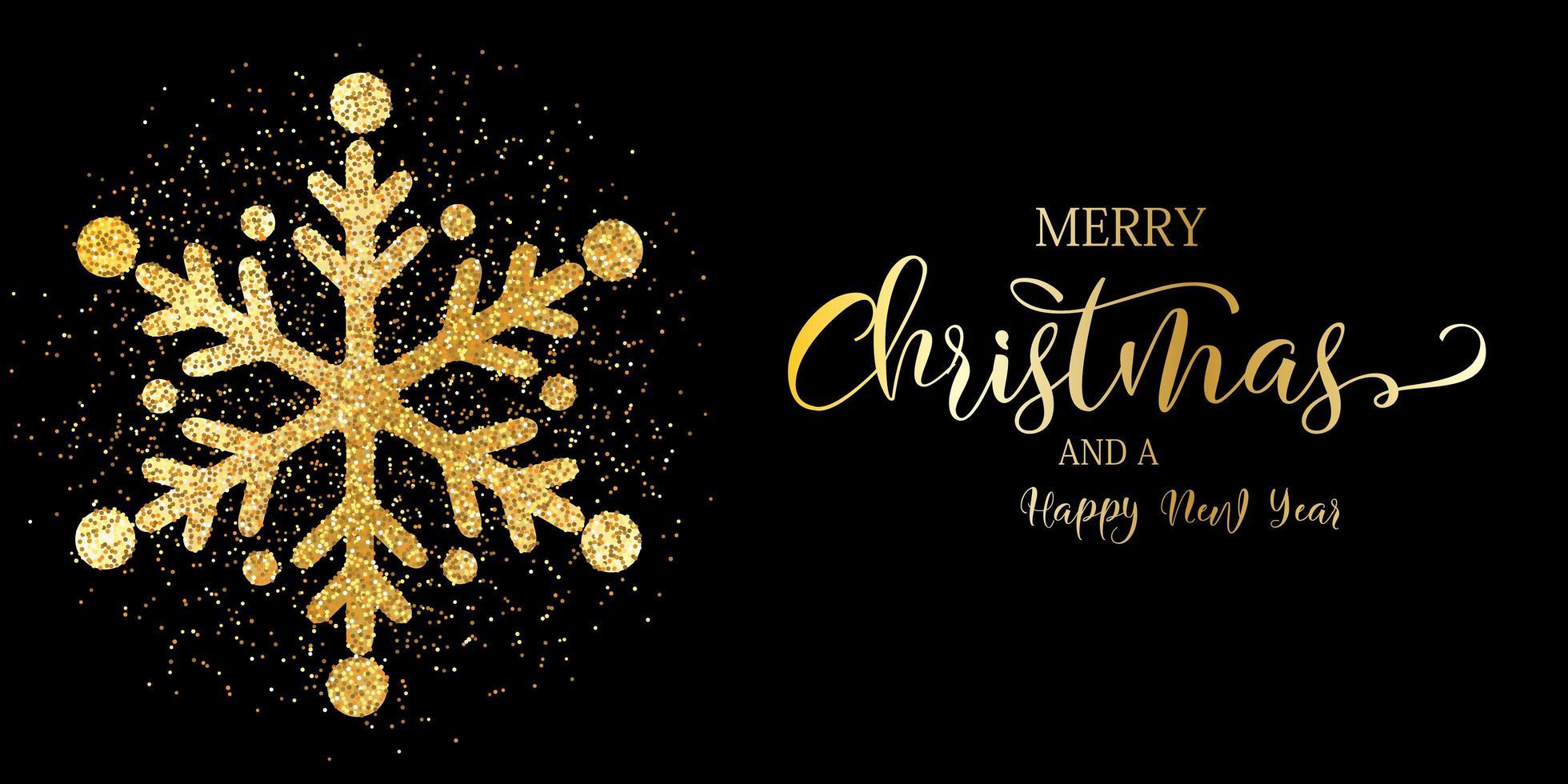 Banner di Natale con fiocco di neve glitter vettore