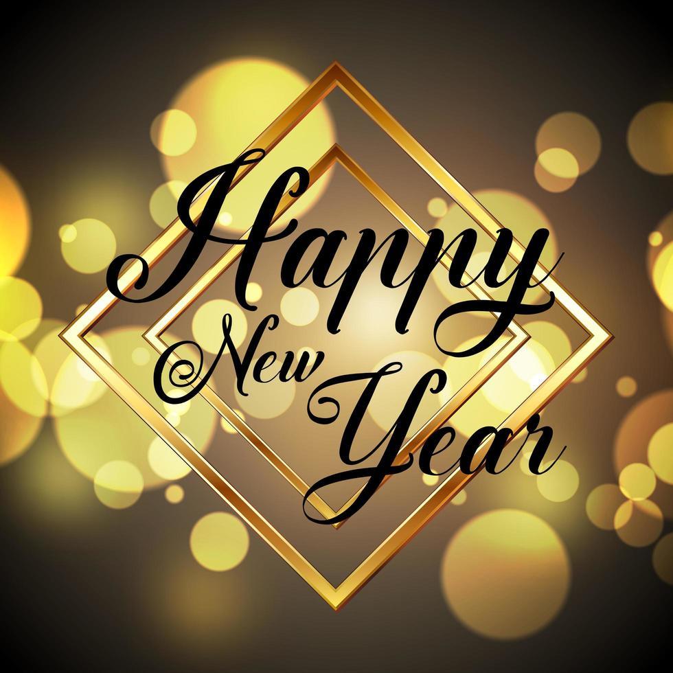 Golden Happy New Year design vector