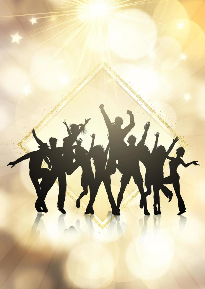 Partijmenigte op een gouden bokeh steekt achtergrond aan vector