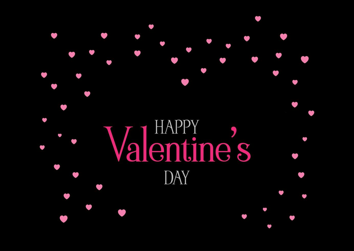 Dark Valentine's Day background with Pink hearts