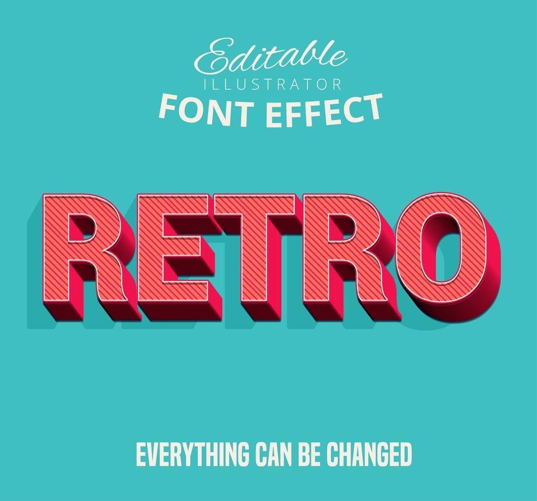Texto rayado diagonal retro, estilo de texto editable vector