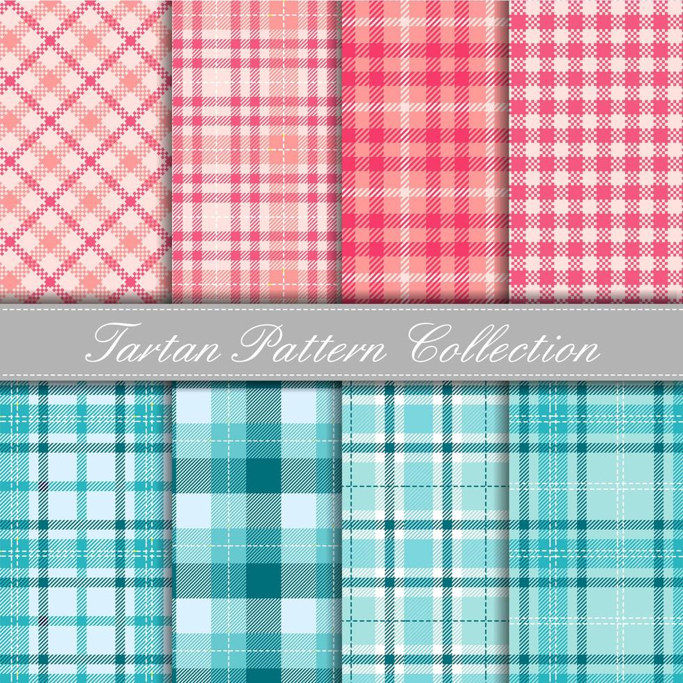 Pink and turquoise collection of baby tartan patterns vector