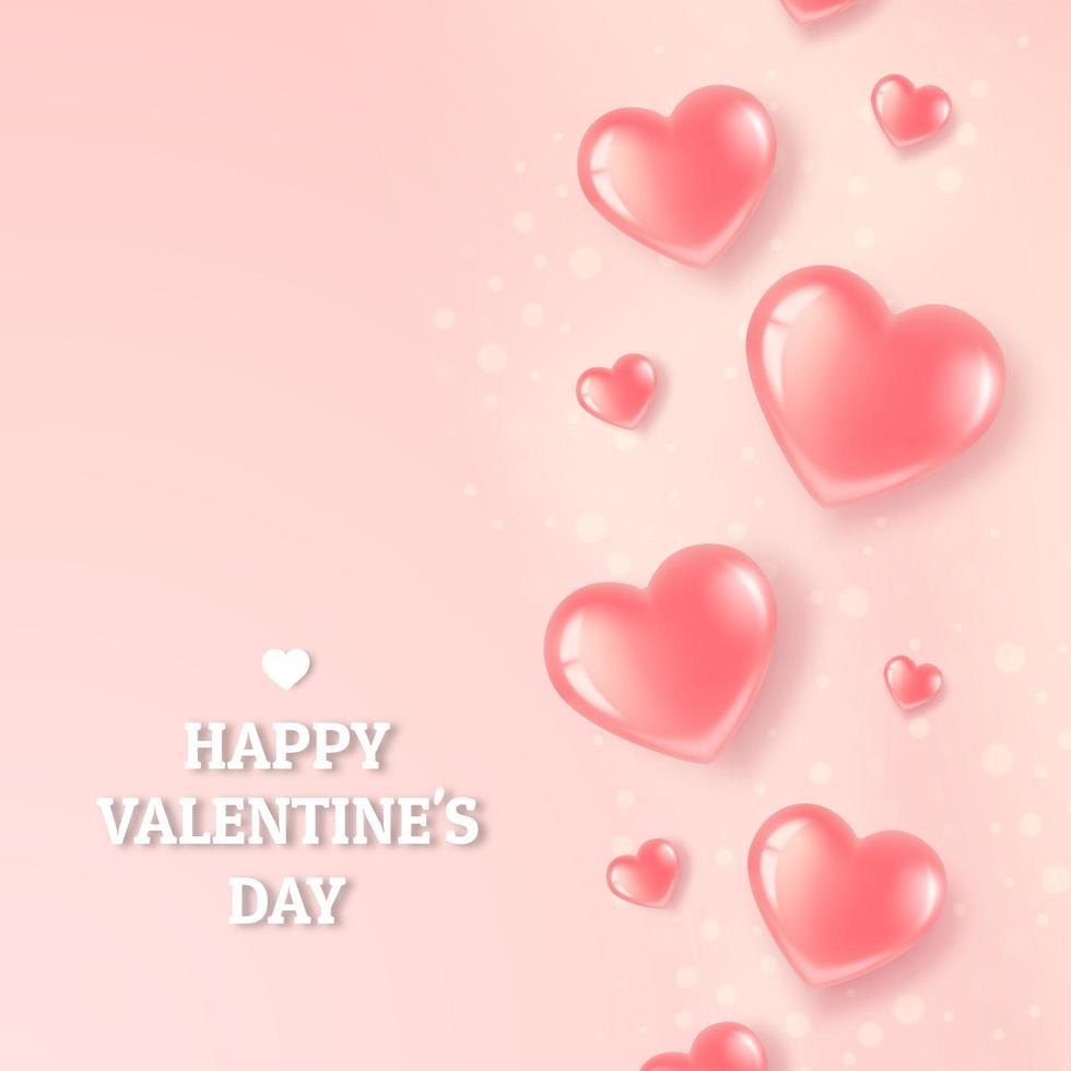 Affiche de coeurs brillants roses vecteur