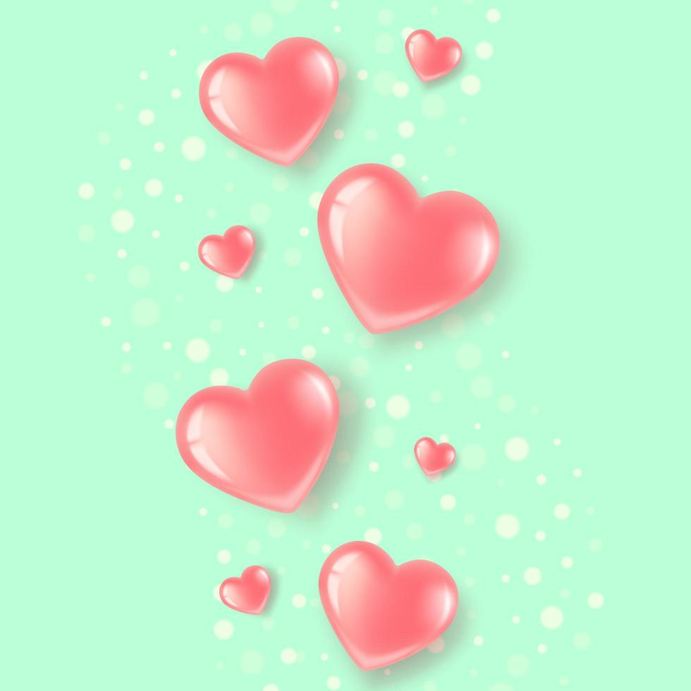 Glossy hearts on a green background vector