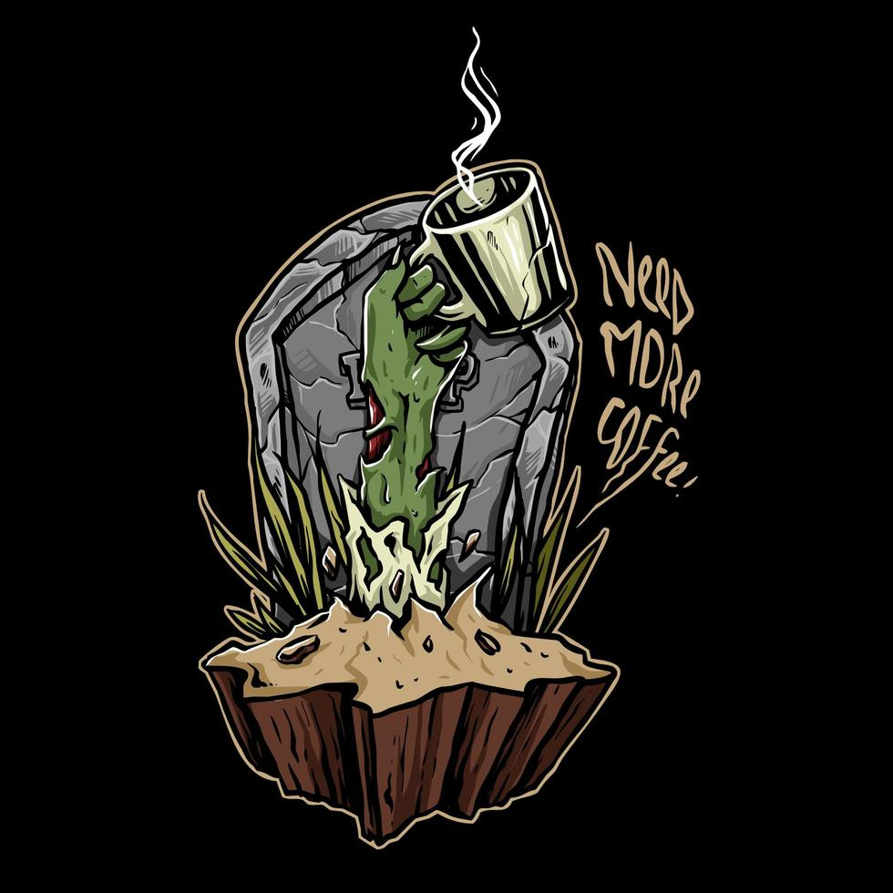 kaffe zombie hand vektor