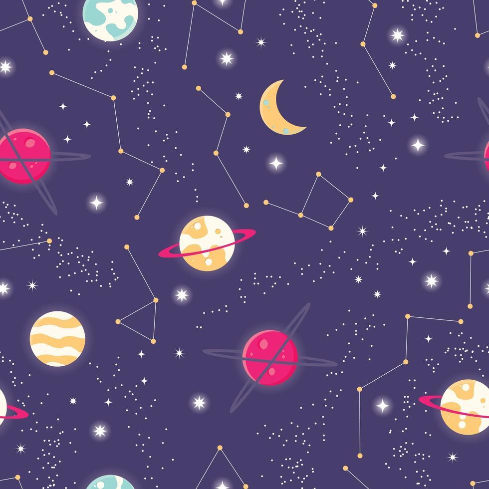 Universum met planeten en sterren naadloos patroon vector