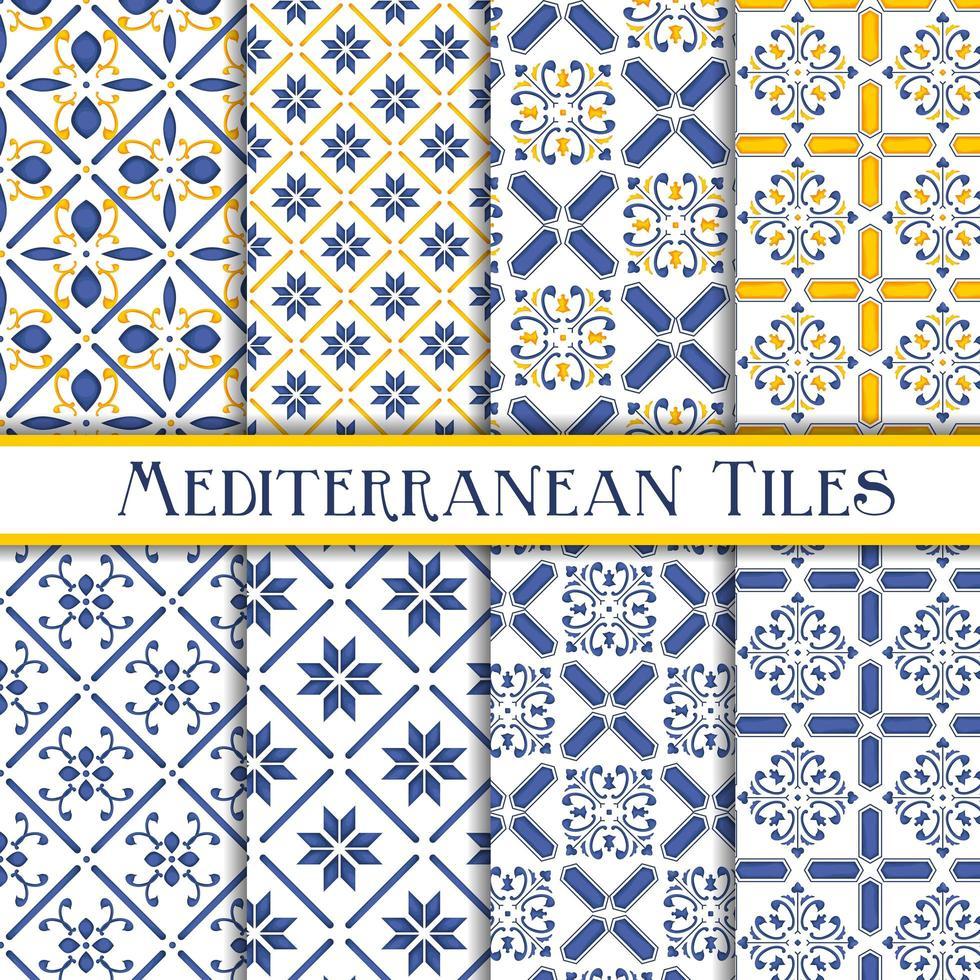 Raccolta di modelli di piastrelle mediterranee vettore