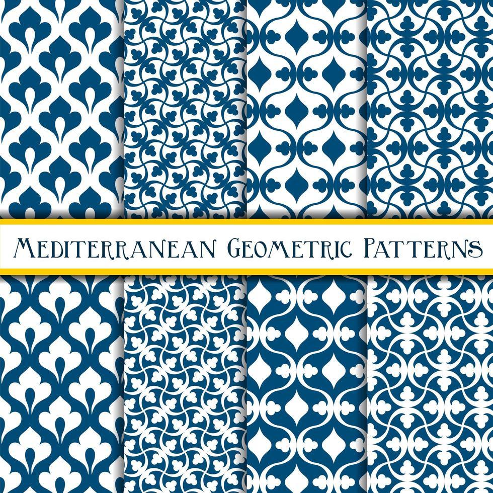 Elegant collection of blue geometric mediterranean patterns vector