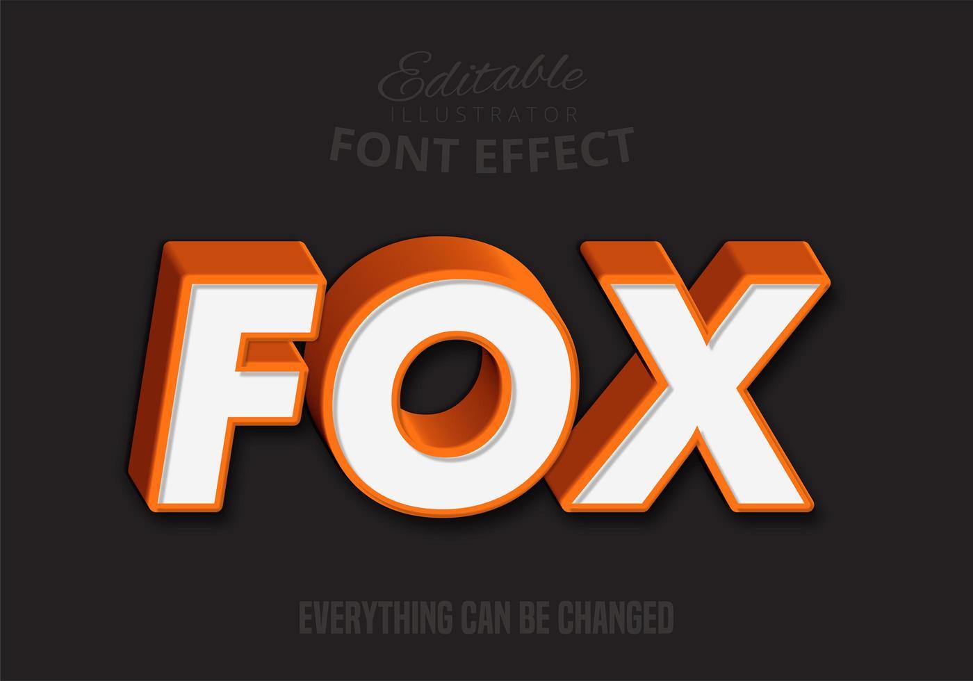 Texto naranja 3D Fox, estilo de texto editable vector