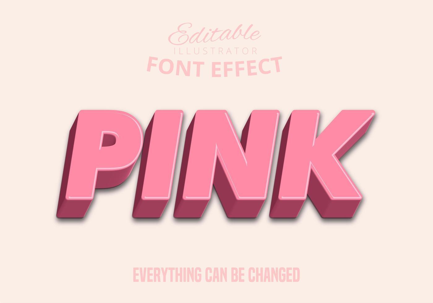 Texto 3D rosa brillante, estilo de texto editable vector