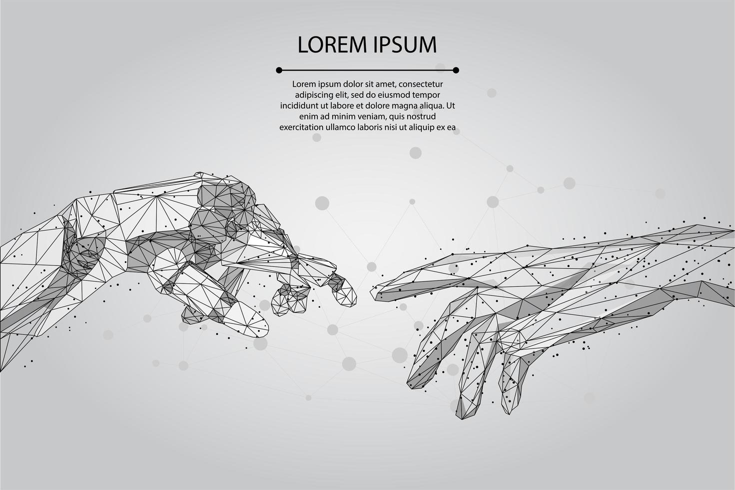 Mesh line and point Low poly wireframe hands vector