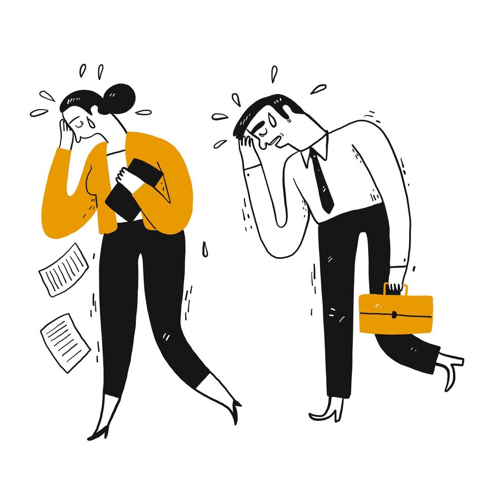 Businessman and workmate are crying or sweater  vector